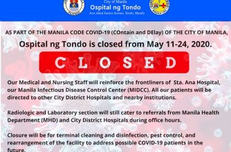 Ospital ng Tondo closed from May 11 to 24 for cleaning and disinfection