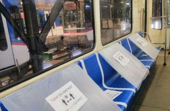 "In photos: MRT-3 puts markers on train seats, floors in preparation for ""new normal"""