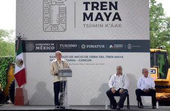 "Mexican President Andres Manuel Lopez Obrador speaks during the laying of the first stone of the ""Tren Maya"" tourist train, in El Ideal, Quintana Roo State, Mexico, on June 1, 2020. - Lopez Obrador inaugurated the construction of the Izamal-Cancun section of the Tren Maya on Monday, the flagship project of his government which he hopes to turn into an engine for economic reactivation in the face of the COVID-19 novel coronavirus pandemic. The project is questioned by social and environmental organizations. (Photo by Elizabeth RUIZ / AFP)"