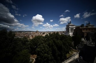A view shows a north-northeast view from Capitoline Hill overlooking Rome on June 16, 2020, as the country eases its lockdown aimed at curbing the spread of the COVID-19 infection, caused by the novel coronavirus. (Photo by Filippo MONTEFORTE / AFP)