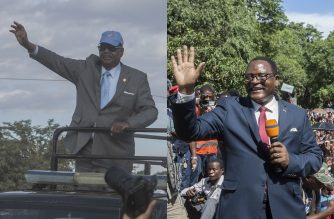 This combination of file pictures created on June 19, 2020, shows (from L), Malawian President Arthur Peter Mutharika arriving at the Biwi triangle in Lilongwe on June 17, 2020 and Malawi Congress Party (MCP) President Lazarus Chakwera addressing supporters during celebrations outside the MCP Headquarters in Lilongwe on February 4, 2020. - They are the leading Malawian presidential candidates in the upcoming national elections re-run.  Malawi votes on June 23, 2020, in a historic presidential re-run after a court overturned President Peter Mutharika's re-election last year over ballot irregularities. (Photo by AMOS GUMULIRA / AFP)
