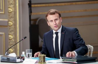 French President Emmanuel Macron attends a meeting with labour union representatives at the Elysee Palace in Paris, on June 24, 2020. (Photo by Ludovic MARIN / POOL / AFP)