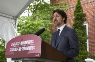 Canadian Prime Minister Justin Trudeau speaks during his daily coronavirus, COVID-19  briefing at Rideau Cottage in Ottawa, Ontario, on June 25, 2020. (Photo by Lars Hagberg / AFP)