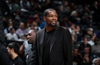 BROOKLYN, NY - NOVEMBER 4: Kevin Durant #7 of the Brooklyn Nets seen during the game against the New Orleans Pelicans on November 4, 2019 at Barclays Center in Brooklyn, New York. NOTE TO USER: User expressly acknowledges and agrees that, by downloading and or using this Photograph, user is consenting to the terms and conditions of the Getty Images License Agreement. Mandatory Copyright Notice: Copyright 2019 NBAE   Nathaniel S. Butler/NBAE via Getty Images/AFP