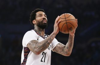 LOS ANGELES, CA - MARCH 10: Wilson Chandler #21 of the Brooklyn Nets shoots the ball during a game against the Los Angeles Lakers at the Staples Center on March 10, 2020 in Los Angeles, CA. NOTE TO USER: User expressly acknowledges and agrees that, by downloading and or using this photograph, User is consenting to the terms and conditions of the Getty Images License Agreement. Mandatory Credit: 2020 NBAE   Chris Elise/NBAE via Getty Images/AFP
