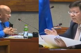 A combination photo of Cavite Rep. Elpidio Barzaga Jr., and House Deputy Speaker Rodante Marcoleta questioning ABS CBN counsel Atty. Cynthia Del Castillo, former Ateneo law dean, during the June 11, 2020 continuation of House of Representatives hearing on the franchise renewal of ABSCBN.