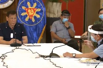 Health Secretary Francisco Duque III explains to President Rodrigo Duterte on Thursday, June 4, 2020, why his department failed to immediately distribute cash assistance to health care workers who had been severely afflicted with COVID-19, and to families of health care workers who died due to the virus.  (Courtesy PCOO/Screengrab of PCOO video)