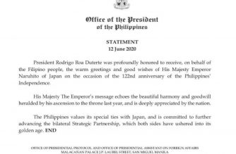 Emperor Naruhito of Japan sends warm greetings to Filipino people on 122nd anniversary of PHL independence