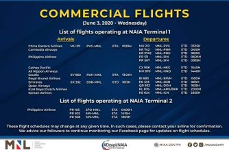 MIAA releases list of operational commercial flights for Wednesday, June 3
