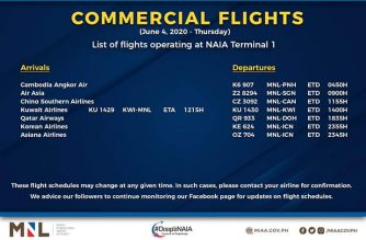 MIAA releases list of operational commercial flights for Thursday, June 4
