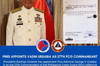 Vice Admiral George Ursabia is the new PCH commandant./PCG/