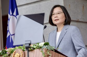 """This handout picture taken and released on May 20, 2020 by the Taiwan Presidential office shows Taiwan's President Tsai Ing-wen speaking at the Taipei Guest House as part of her inauguration for her second term as in office, in Taipei. - Beijing must find a way to live peacefully alongside a democratic Taiwan that will never accept Chinese rule, President Tsai Ing-wen said May 20 in an inauguration speech that also celebrated the island's successful fight against the coronavirus. (Photo by Handout / Taiwan Presidential Office / AFP) / RESTRICTED TO EDITORIAL USE - MANDATORY CREDIT """"AFP PHOTO / TAIWAN PRESIDENTIAL OFFICE """" - NO MARKETING - NO ADVERTISING CAMPAIGNS - DISTRIBUTED AS A SERVICE TO CLIENTS"""