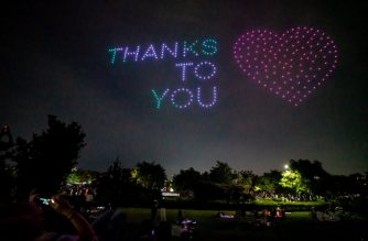 """This handout photo taken on July 4, 2020 and released on July 6 by South Korea's Ministry of Land, Infrastructure, and Transport shows a drone display showing messages of support for the country amid the covid-19 pandemic, above a park in central Seoul. (Photo by Handout / South Korea's Ministry of Land, Infrastructure, and Transport / AFP) / -----EDITORS NOTE --- RESTRICTED TO EDITORIAL USE - MANDATORY CREDIT """"AFP PHOTO / Ministry of Land, Infrastructure, and Transport"""" - NO MARKETING - NO ADVERTISING CAMPAIGNS - DISTRIBUTED AS A SERVICE TO CLIENTS"""
