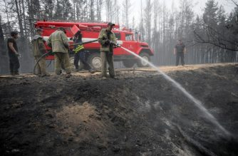 Firefighters extinguish a wildfire in the Lugansk region on July 8, 2020. (Photo by Aleksey Filippov / AFP)