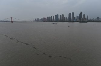 A general view of the swollen Yangtze River in Wuhan in China's central Hubei province is seen on July 14, 2020. - Various parts of China have been hit by continuous downpours since June, with the damage adding pressure to a domestic economy already hit by the coronavirus pandemic. (Photo by Hector RETAMAL / AFP)