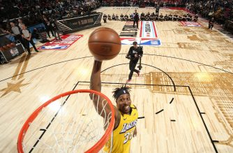 CHICAGO, IL - FEBRUARY 15: Dwight Howard #39 of the Los Angeles Lakers dunks the ball during the 2020 NBA All-Star - AT&T Slam Dunk on February 15, 2020 at the United Center in Chicago, Illinois. NOTE TO USER: User expressly acknowledges and agrees that, by downloading and or using this photograph, User is consenting to the terms and conditions of the Getty Images License Agreement. Mandatory Copyright Notice: Copyright 2020 NBAE   Nathaniel S. Butler/NBAE via Getty Images/AFP