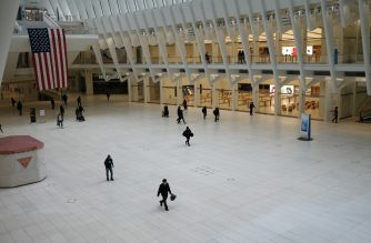 NEW YORK, NY - MAY 08: The Oculus transportation hub and mall stands nearly deserted in lower Manhattan as the coronavirus keeps financial markets and businesses mostly closed on May 08, 2020 in New York City. The Bureau of Labor Statistics announced on Friday that the US economy lost 20.5 million jobs in April. This is the largest decline in jobs since the government began tracking the data in 1939.   Spencer Platt/Getty Images/AFP