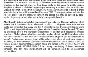 PHIVOLCS on Monday, July 6, announced it had raised the alert level on Bulusan volcano to 1./PHIVOLCS/