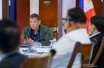 President Rodrigo Roa Duterte holds a meeting with the core members of the Inter-Agency Task Force on the Emerging Infectious Diseases (IATF-EID) at the Presidential Guest House in Panacan, Davao City on July 7, 2020. JOEY DALUMPINES/PRESIDENTIAL PHOTO