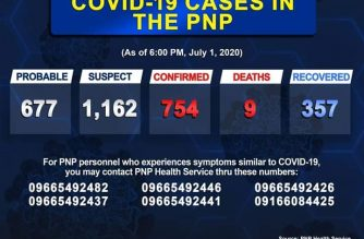 The number of COVID-19 cases in the PNP rose to 754, according to PNP data as of July 1, 6 p.m./PNP/