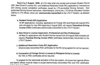 LTO's public advisory on the new requirement for specific applications to be implemented starting Aug. 3./LTO/