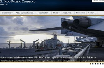 A screengrab of the US Indo-Pacific Command website, showing photo of USS Nimitz.  The photo taken while at the Philippine Sea (July 1, 2020) shows the aircraft carrier USS Nimitz (CVN 68) conducting a replenishment-at-sea with the Military Sealift Command (MSC) fleet replenishment oiler USNS John Ericsson (T-AO 194). Nimitz, the flagship of Carrier Strike Group 11, is deployed conducting maritime security operations and theater security cooperation efforts. (U.S. Navy photo by Mass Communication Specialist 3rd Class Olivia Banmally Nichols)