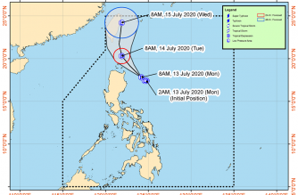"""Signal No. 1 still raised over Batanes, other areas as """"Carina"""" heads toward Luzon Strait"""