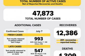The number of COVID-19 cases in the country has reached 47873 after the DOH reported 1540 COVID-19 cases today, July 7. Of the 47,873, the DOH said 34,178 were active cases./DOH/
