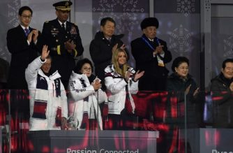 South Korea's President Moon Jae-in (L), his wife Kim Jung-sook (C), US President Donald Trump's daughter and senior White House adviser Ivanka Trump (C-R), North Korean General Kim Yong Chol (back R), and United States Forces Korea commander General Vincent K. Brooks (back 2ndL) attend the closing ceremony of the Pyeongchang 2018 Winter Olympic Games at the Pyeongchang Stadium on February 25, 2018. / AFP PHOTO / WANG Zhao