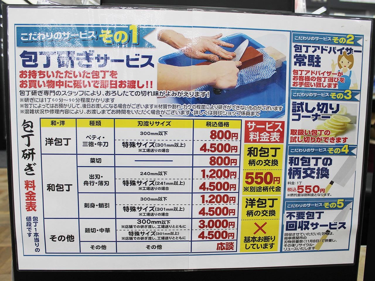 ホームセンタームサシ_包丁研ぎサービス内容