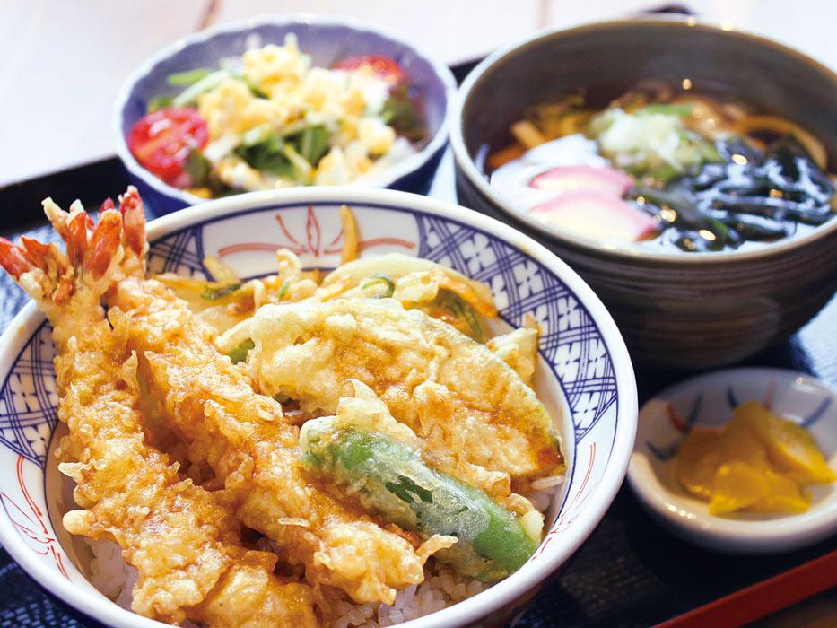 ひづき亭_海老と野菜のかき揚げ天丼御膳