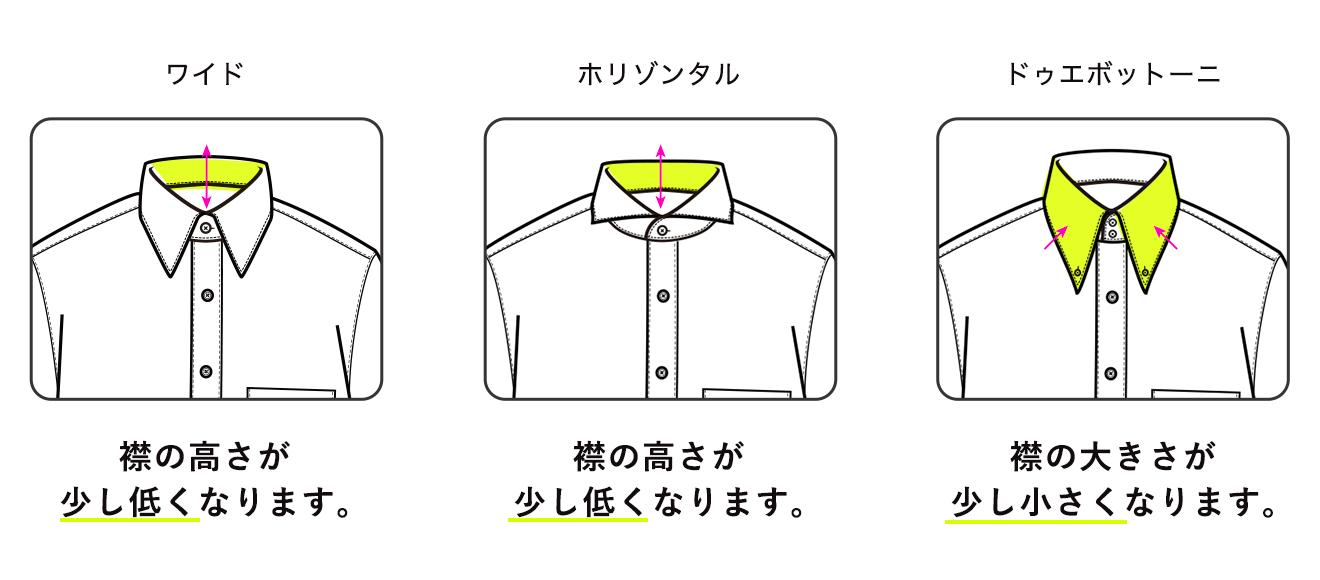 リニューアル対象の襟デザイン