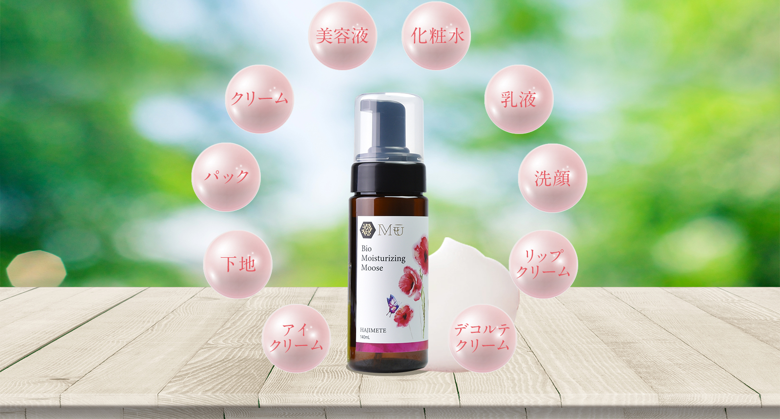 美容液、化粧水、クリーム、乳液、パック、洗顔、下地、リップクリーム、アイクリーム、デコルテクリーム