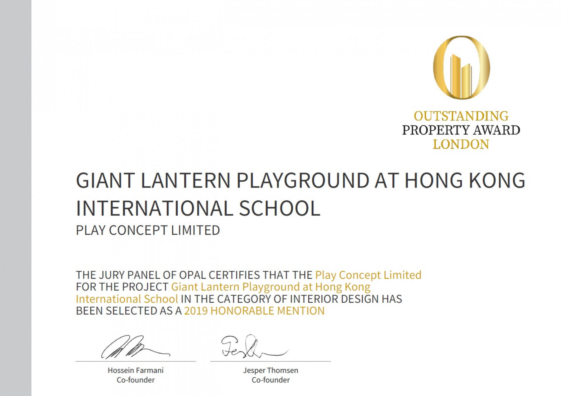 Play Concept - Play Concept gained OPAL Honorable Mention - 1