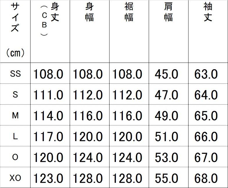 20200908175219914 ベンチコートサイズ表