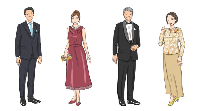 (男性)タキシード、ダークスーツなど (女性)イブニングドレス、カクテルドレス、ドレッシーなスーツなど