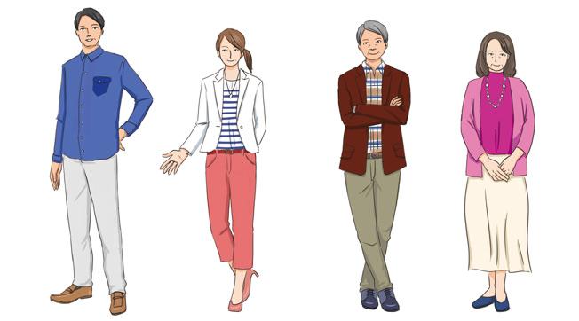 (男性)えり付きシャツ、スラックスなど (女性)ブラウス、スカートなど