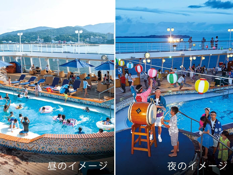 夜は飛鳥Ⅱが夏祭り会場に! 船上で夏を満喫