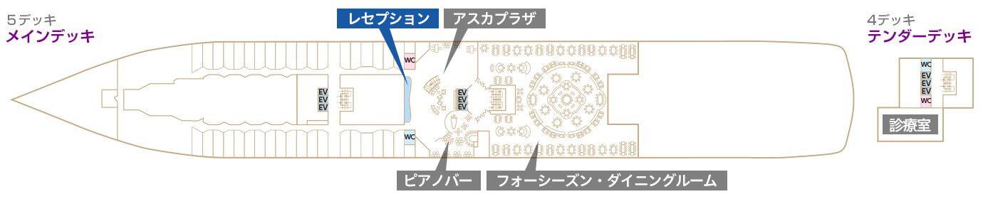 Deck4-5 メインデッキ テンダーデッキ レセプション