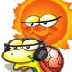 カメとお陽さまのアイコン画像