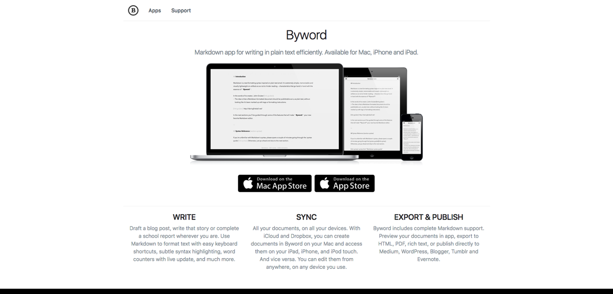 FireShot Capture 021  Byword  Markdown text editor app for Mac iPhone a  https bywordapp com