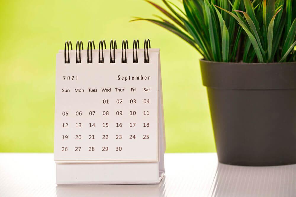 2021年9月のカレンダーと観葉植物