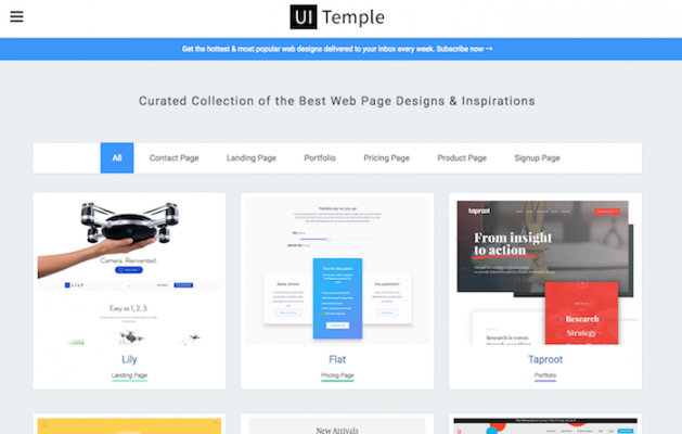Webページのデザイン時に参考にしたいキュレーションサイト「UI Temple」のサムネイル画像