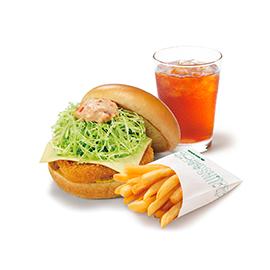 チキンバーガー(チーズ)ポテトL・ドリンクセット(チキンバーガー(チーズ)+ポテトLサイズ+セットドリンクMサイズ ※スープ・シェイク不可)