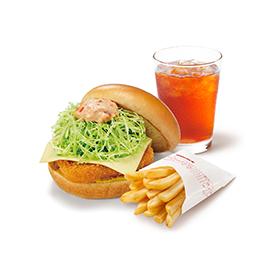 チキンバーガー(チーズ)ポテトS・ドリンクセット(チキンバーガー(チーズ)+ポテトSサイズ+セットドリンクMサイズ ※スープ・シェイク不可)