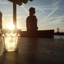 夕陽に癒される。