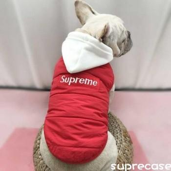 supreme ペット服 パーカー 防寒ベスト ヴィトン 犬服 ドッグウェア