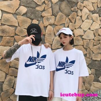 「アディダス ナイキ コラボ tシャツ」カジュアル系 夏男女人気コーディ