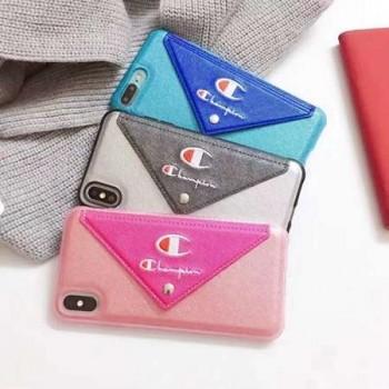 チャンピオン iphone8plus ケース ブルーレイ ガラス iphoneX/10 カバー Champion スマホケース