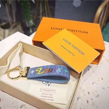 ルイヴィトン キーホルダー 刺繍 本革 ポルトクレキツネ ウズ キーリング かわいい ブランド小物